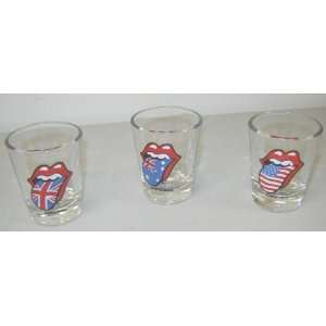 Stones Mick Jagger Tongues 3 Shot Glasses Glass Set