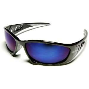 Edge Safety Eyewear Glasses Baretti   Black / Blue Mirror