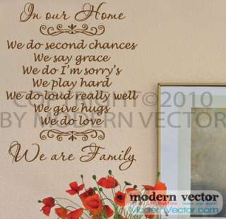 In our Home We are Family Vinyl Wall Quote Decal