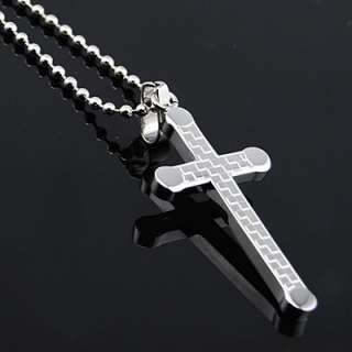 Mens Stainless Steel Fashion Cross Pendant Necklace 196