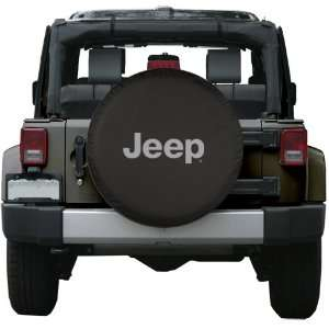 33 Jeep Logo Tire Cover   Black Denim   2007+ Wrangler JK Automotive