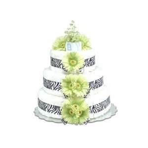 Bloomers Baby 3 Tier Diaper Cake   Lime Green Daisies with