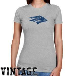 NCAA Nevada Wolf Pack Ladies Ash Distressed Logo Vintage