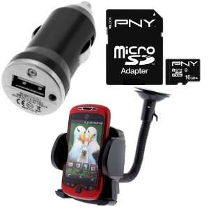 PNY 16GB Micro SDHC Class 10 Memory Card + Car Mount Holder + USB Car