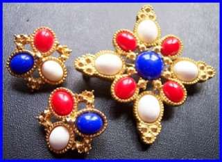 Vintage Sarah Coventry Red Wte Blue Gold Metal Patriotic Brooch