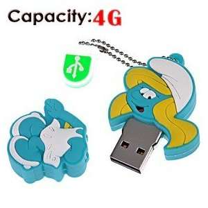 4G Rubber USB Flash Drive with Shape of Smurfs (Blue) Electronics
