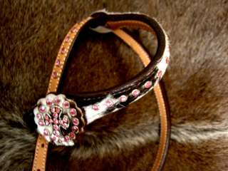 HORSE BRIDLE WESTERN LEATHER HEADSTALL TACK PINK BLING HAIRON CROSS