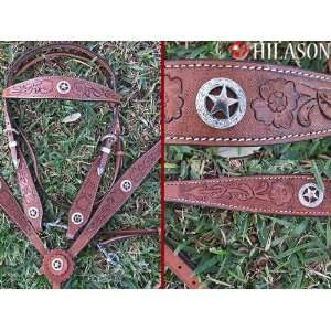 Western Leather Tack Hand Tooled Horse Bridle Headstall Breast Collar