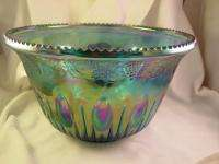 Vintage Blue Grape Indiana Carnival Princess Glass Punch Bowl Set