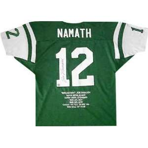 Joe Namath Autographed Embroidered Custom Stat Jersey