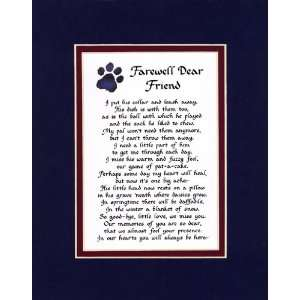 Farewell Dear Friend Male Dog Memorial Wall Decor Poem Pet