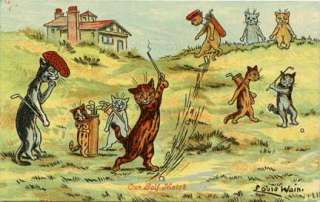 Louis Wain Cats Playing Golf Vintage Image Magnet