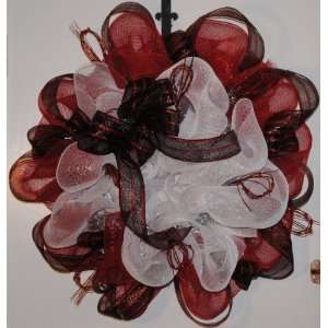 Valentines Day Wreath red and White with Red and Black Ribbon