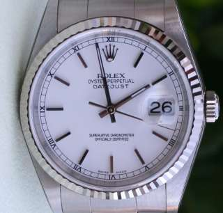 ROLEX DATEJUST MENS STAINLESS STEEL WHITE GOLD BEZEL WHITE DIAL BOX