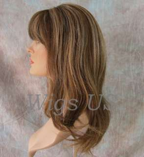Wigs 100% Real Human Hair Wig Med Brown Mix with Highlights Wig