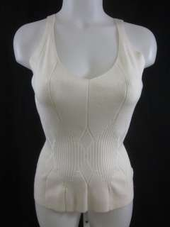 ESSENDI Cream Knit Sleeveless Ribbed Tank Top M