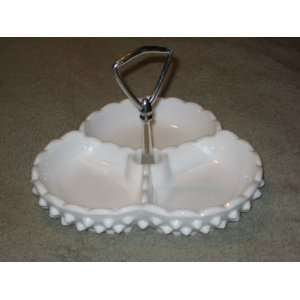 Fenton Milk Glass Hobnail Divided Handled Relish Candy Serving Dish