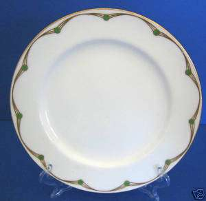 Minton China Patt#7734 Art Deco Gold Green Dots Plate