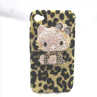 Bling DELUXE BLACK / WHITE hello kitty leopard case cover iPhone 4 4S