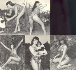 BETTIE PAGE IN JUNGLE LAND SET 1B TO 5B QUEEN OF CURVES