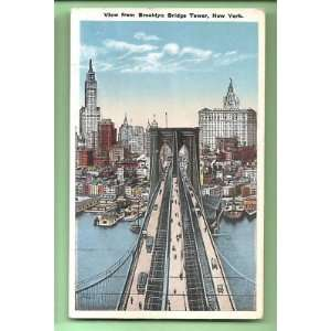 PostcardBrooklyn Bridge Tower New York City Skyline