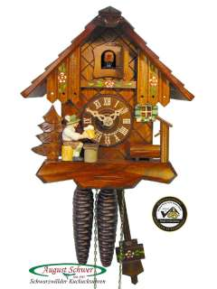 Black Forest Cuckoo Clock 1 Day Moving Beerdrinker NEW