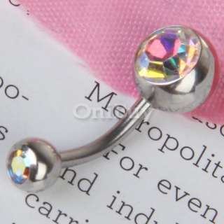 Rhinestone Belly Button Navel Ring Body Piercing Pierce Pick U Color