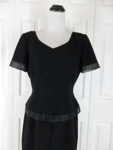 Talbots Size 10 Long Black Cocktail Evening Party Dress Short Sleeves