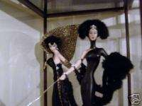 FRANKLIN MINT ERTE SYMPHONY BLACK & LEOPARD DOLLS +CASE