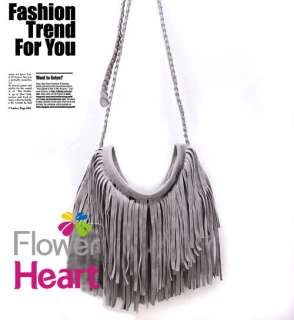 Celebrity Fringe Tassel Fx Suede Shoulder Messenger Cross Body Bag