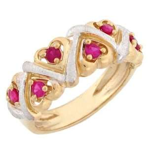 10k Solid Two Tone Gold Heart Synthetic Ruby Band Ring