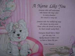 PERSONALIZED NANA POEM BIRTHDAY OR CHRISTMAS GIFT