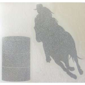 Med Silver Glitter Barrel Racer Racing Horse Rodeo Cowgirl