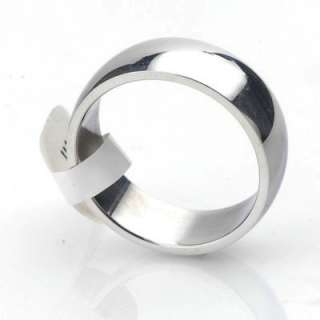 Men Women 316L Stainless Steel 8mm wide Band Curve Arc Ring US Size 10