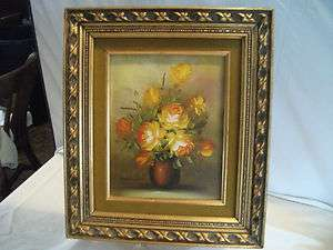 Robert Cox Floral Oil Painting (brown vase)
