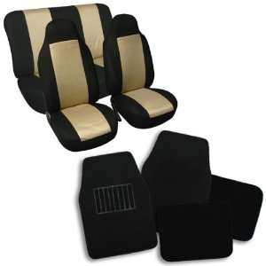 Combo Set Beige Classic Cloth Seat Covers and Black Carpet Floor Mats