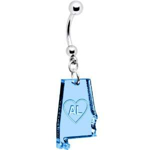 Light Blue State of Alabama Belly Ring Jewelry