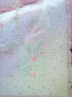 Rachel Ashwell Shabby Pink Ruffle Rose Chic Twin Bed Quilt & Pillow
