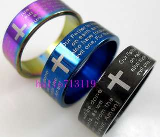 18 Lords Prayer English Bible Cross Stainless Steel Rings wholesale