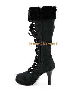 PLEASER Hunter 200 Womens Furry Knee Boots Heels Shoes 885487346069