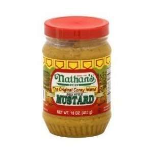 Nathans Famous The Original Coney Island Deli Style Mustard   16 oz