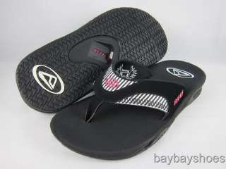 REEF FANNING BLACK/PINK/WHITE/STRIPES FLIP FLOPS THONG SANDALS WOMENS