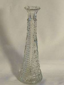 Retro Flower Bud Vase Ribbed Flared Clear Glass 9 tall