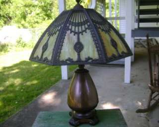 Antique Fabulous Art & Craft Slag Glass Table Lamp Unsigned Miller