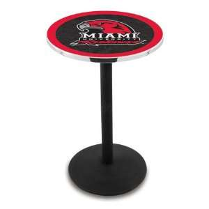 42 Miami Ohio Bar Height Pub Table   Round Base   NCAA