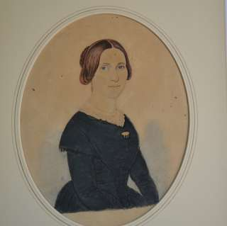 Early American Watercolor Painting Portrait Woman Freybourg 1849