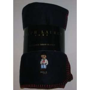 Ralph Lauren Navy Teddy Bear Fleece Throw Blanket 54 X 72