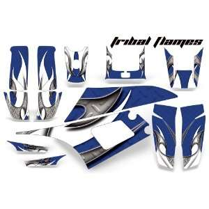 Yamaha Warrior 350 ATV Quad Graphic Kit  Tribal Flames Blue, Silver