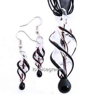 Black Swirl Lampwork Murano Glass Necklace Earrings Set