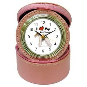 I Love My Fox Terrier Jewelry Case Travel Clock